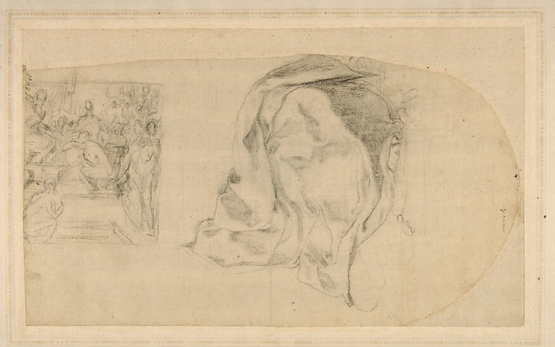 Recto: Project for the decoration of a chapel<br />Verso: A pope blessing a kneeling figure, and a drapery study