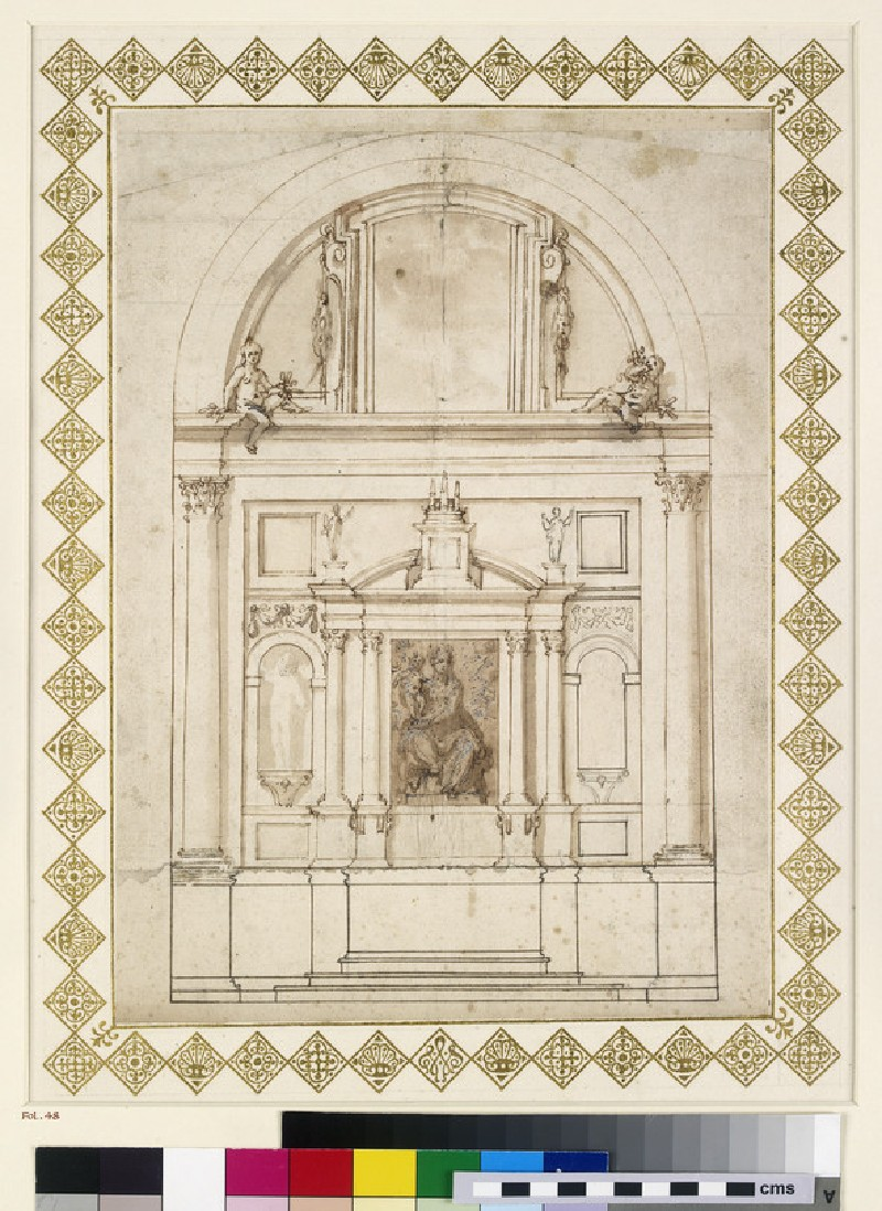 Design for an elevation of the back wall of the Chapel of the Dukes of Urbino in the Basilica of the Holy Family, Loreto (WA1944.102.48)
