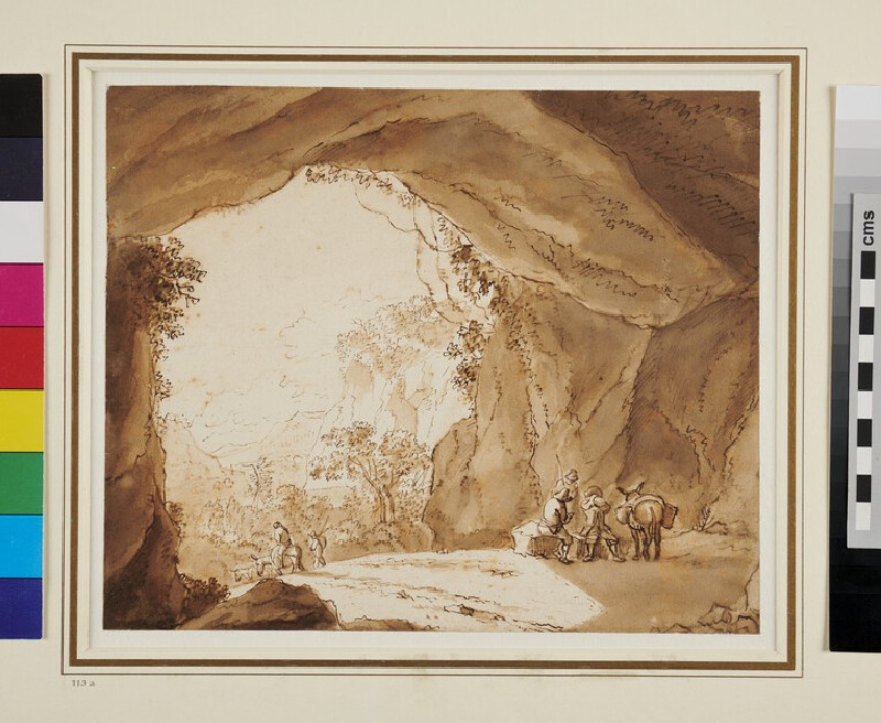 Travellers resting in a Cavern