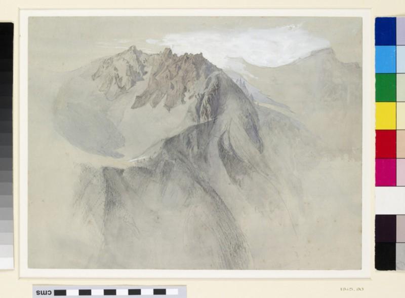 Mountain study: view of the Alps (Aiguilles near Chamonix)