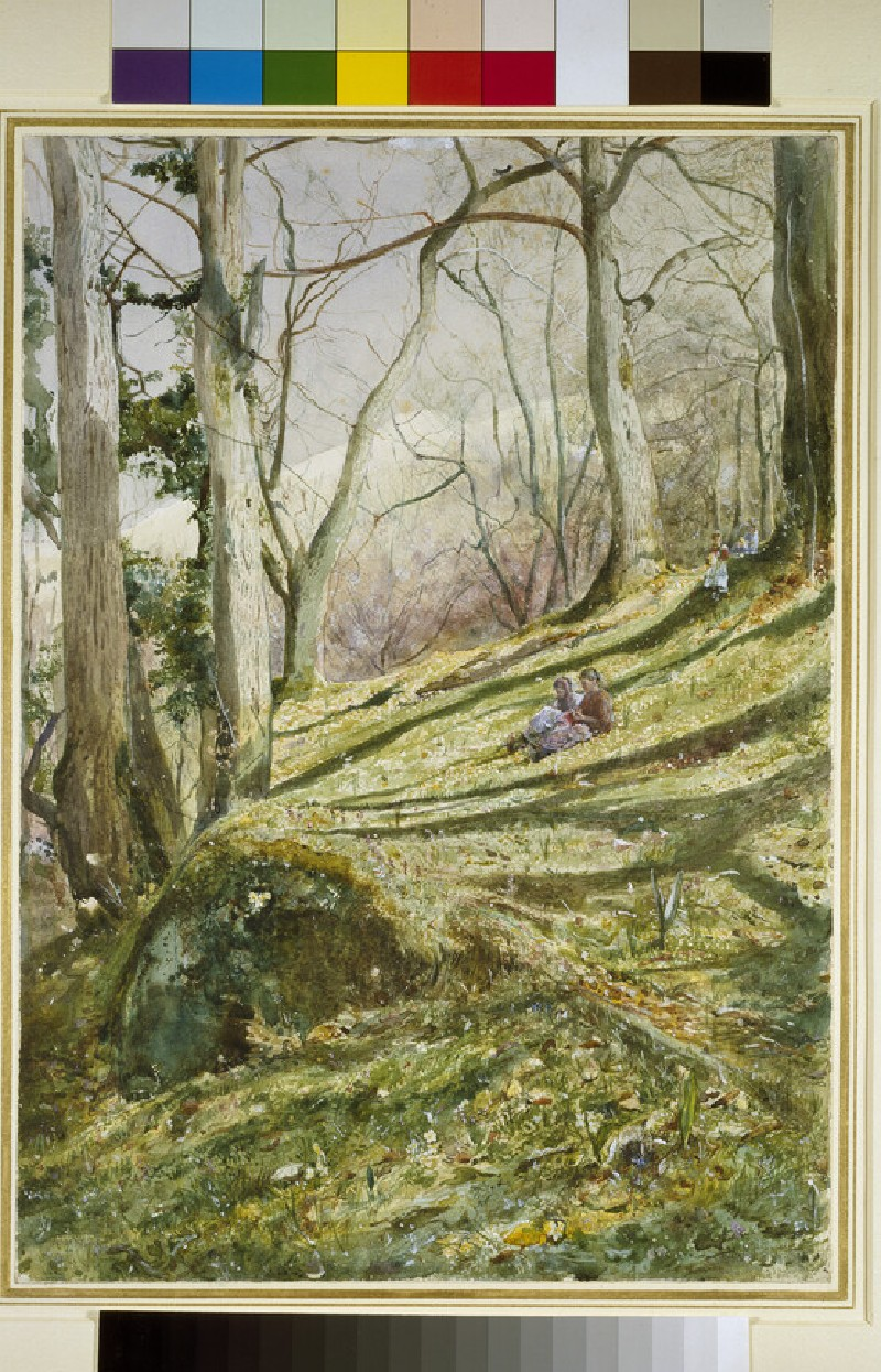 Wooded Slope with four Figures