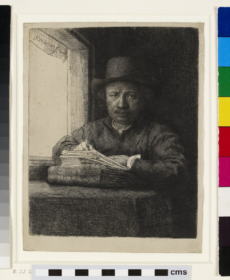 Self-portrait etching at a Window (WA1946.224, Self-portrait drawing at a window)
