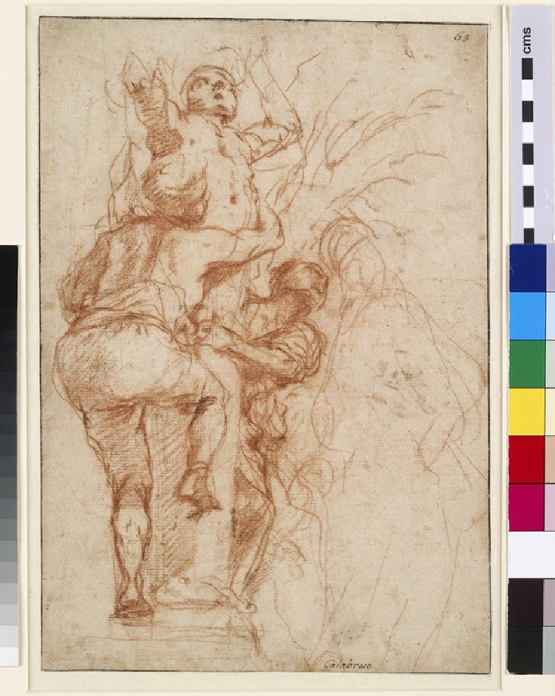 Recto: Man clambering up a Terminal Figure<br />Verso: Slight study of a male figure, and three drawings of hands