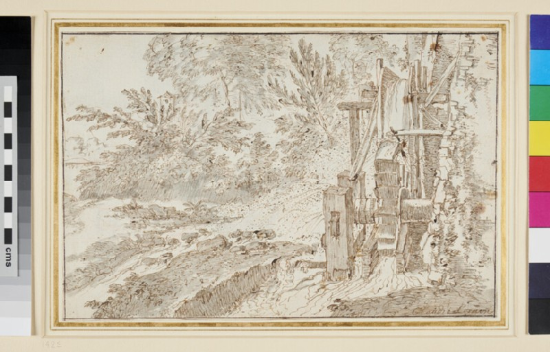 Recto: A Water wheel 