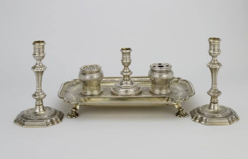 Inkstand, inkwells and candlestick (WA1946.91)