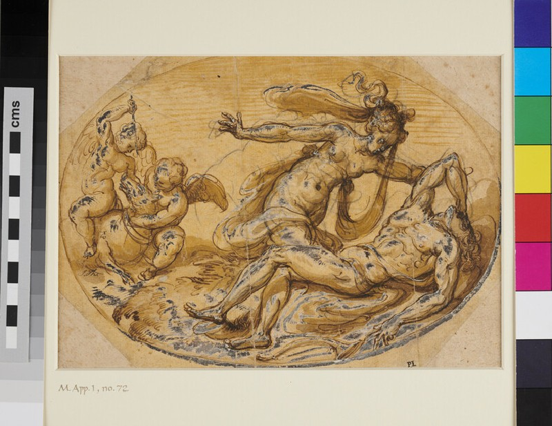Scene from classical Legend. Design for an oval Composition (WA1947.182, recto)