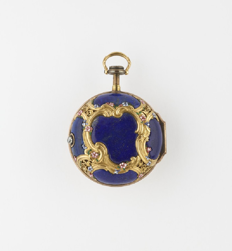 Gold, enamel and lapis lazuli cased verge watch with quarter-repeat (WA1947.191.110)