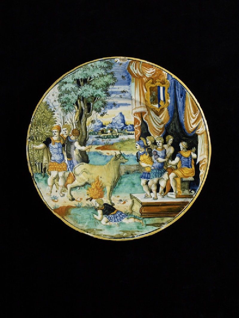 Plate with the bull of Perillus, arms of Helena Herwart (WA1947.191.263)