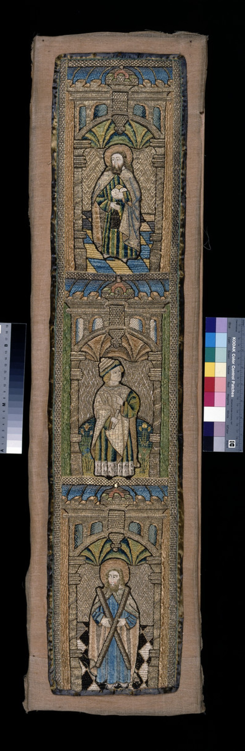 Ecclesiastical vestment strip of embroidery, Opus Anglicanum (WA1947.191.303)