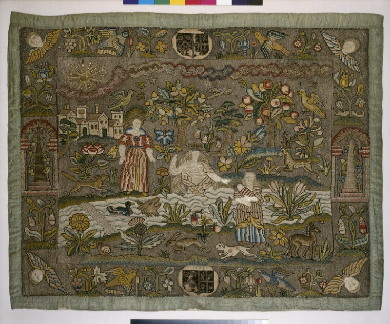 Embroidered picture with The Finding of Moses
