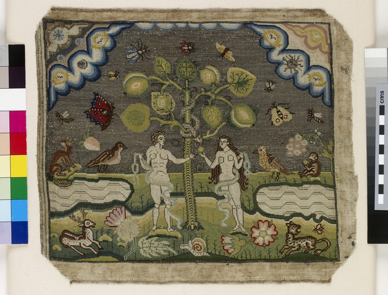 Embroidered picture with The Temptation of Adam and Eve