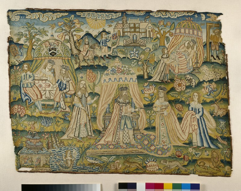 Embroidered picture with Ahasuerus and Esther