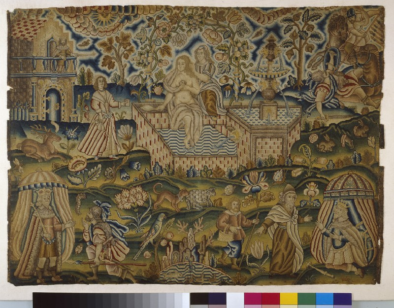 Embroidered picture with David and Bathsheba (WA1947.191.310)