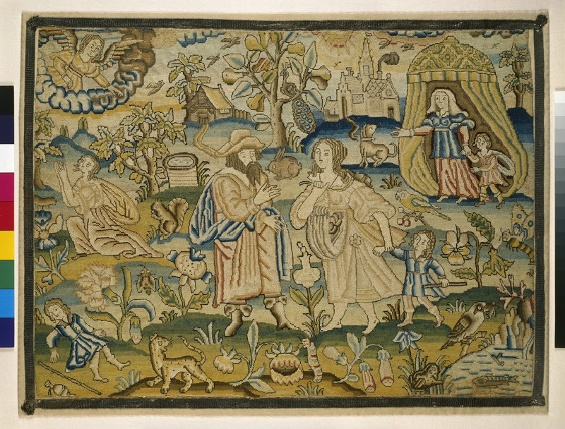 Embroidered picture with Abraham's dismissal of Hagar (WA1947.191.312)