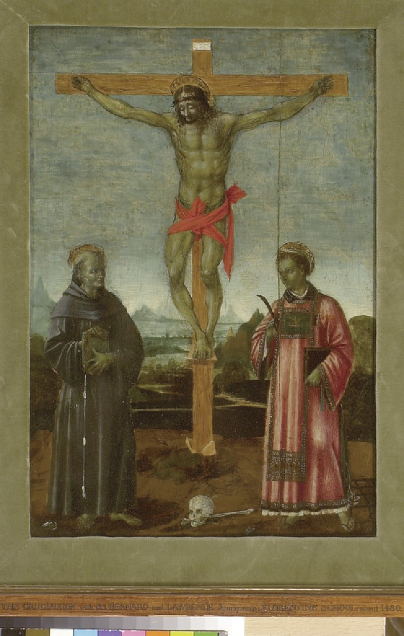 The Crucifixion with Sts Bernardino of Siena and Lawrence (WA1947.203)