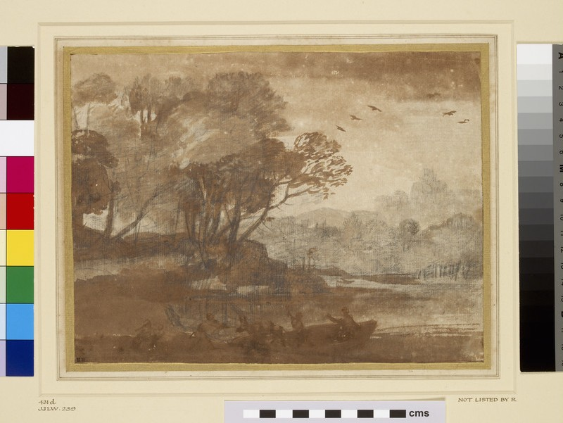 Landscape with figures and a donkey disembarking from a boat (WA1947.251)