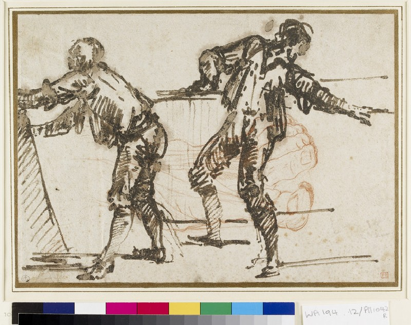 Recto: Two Studies of Men<br />Verso: The Left Hand of a Man and four detached Studies of Bones