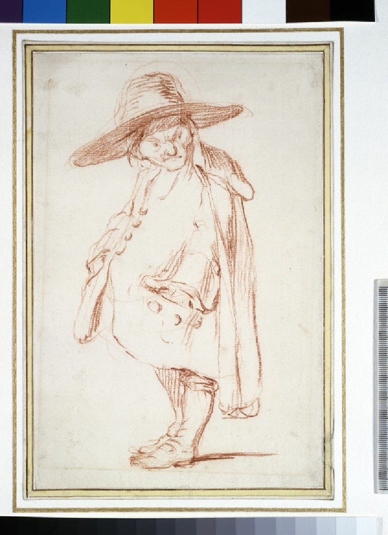 Caricature of a small man in a wide-brimmed hat (WA1948.114)