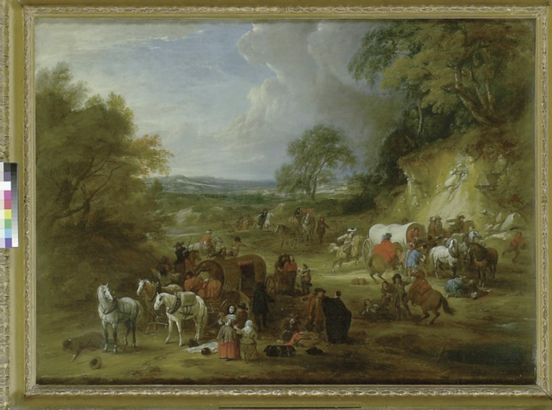 Landscape with Bandits attacking a Convoy of Travellers (WA1948.116)