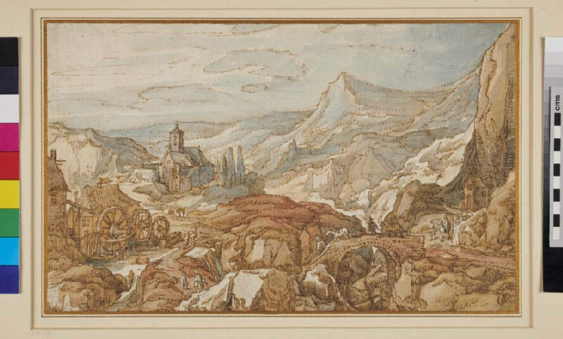 Mountainous Landscape with a Church, Bridge and Watermill