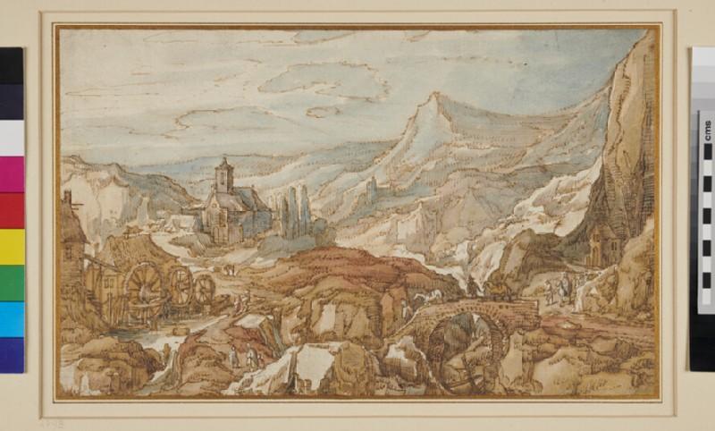 Mountainous Landscape with a Church, Bridge and Watermill (WA1948.184, recto)