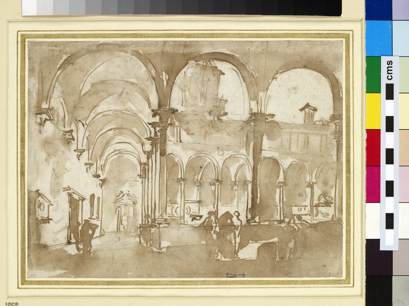 Recto: A Venetian Cloister<br />Verso: Slight architectural Indications