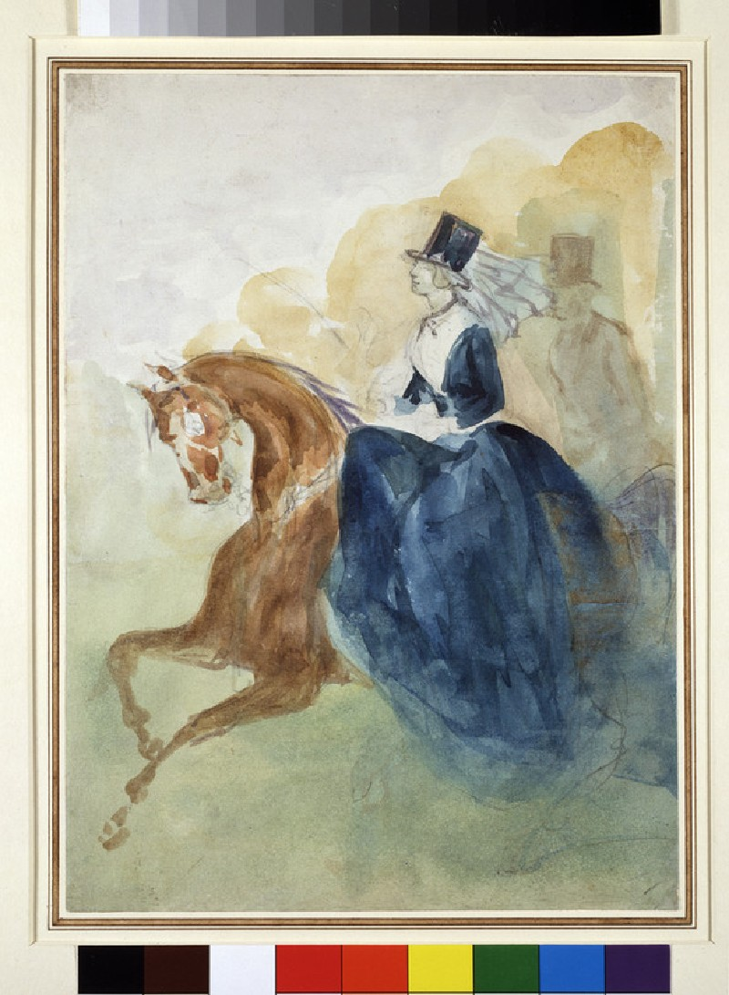 A woman on horseback, galloping to the left, with a man on horseback behind her