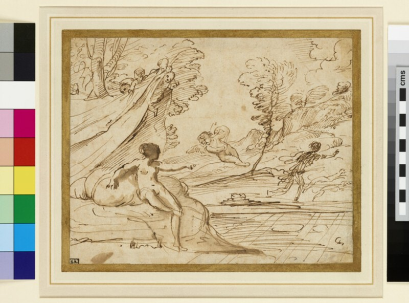 Venus bidding Cupid to stay Adonis from the Hunt