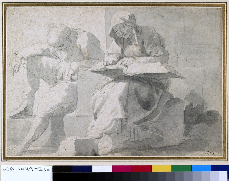 Old man asleep, sitting on masonry, beside an old woman reading a large book (WA1949.216)