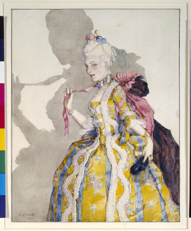 Design for a Costume of a Marquise for the ballerina Tamara Karsavina (WA1949.347)