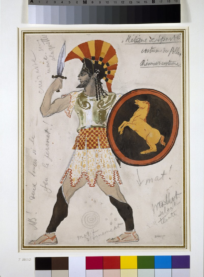 Design for Pollux's Costume in 'Hélène de Sparte' (WA1949.377)