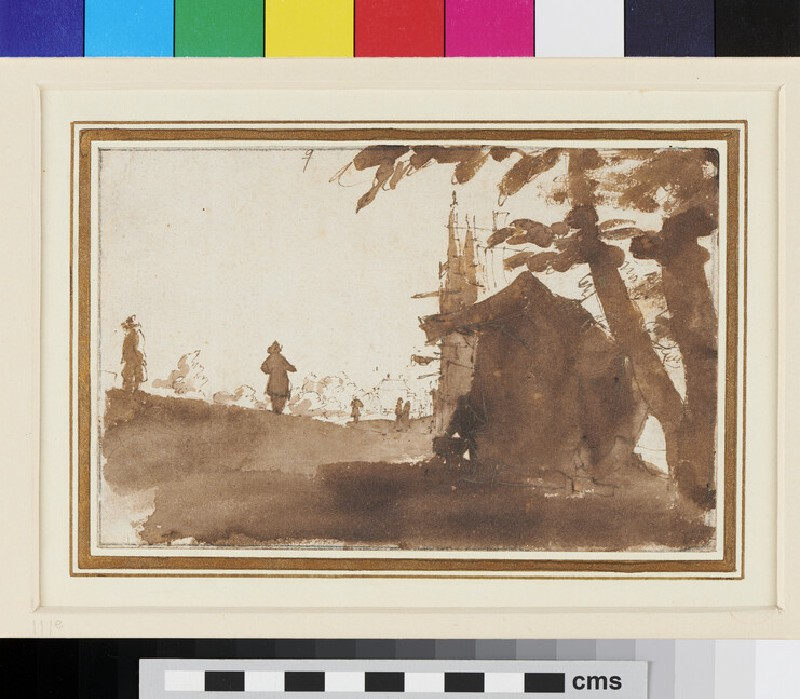 Recto: Wayside with a Booth in foreground <br />Verso: Country Road with three Figures