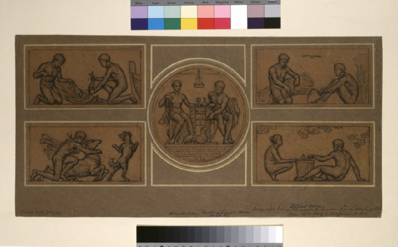 Design for Ivory Plaque to be inlaid in a Serving Table: Two Fishermen (WA1950.178.107)