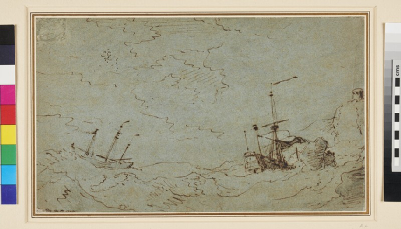 A Ship on the Rocks with another riding to Anchor (WA1950.178.11, recto)