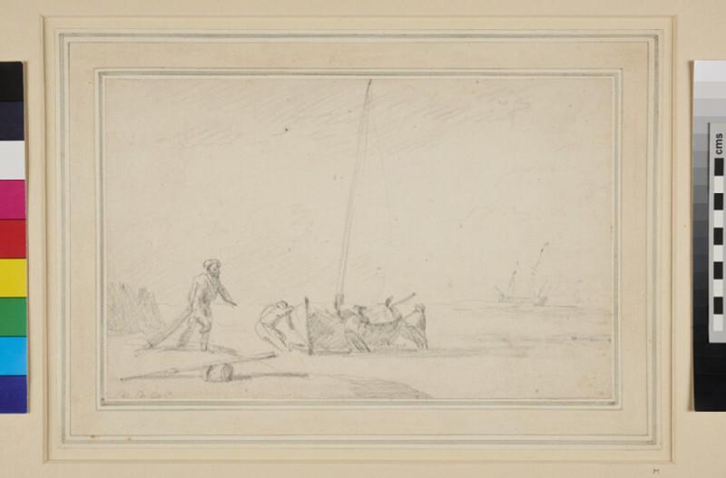 Men hauling up a fishing Boat on the Shore (WA1950.178.12, recto)