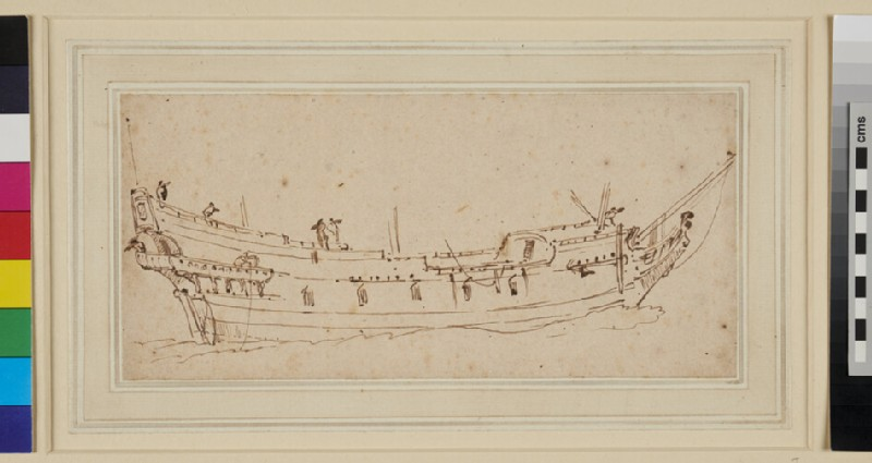 Study of the Hull of an old-fashioned Ship (WA1950.178.131, recto)