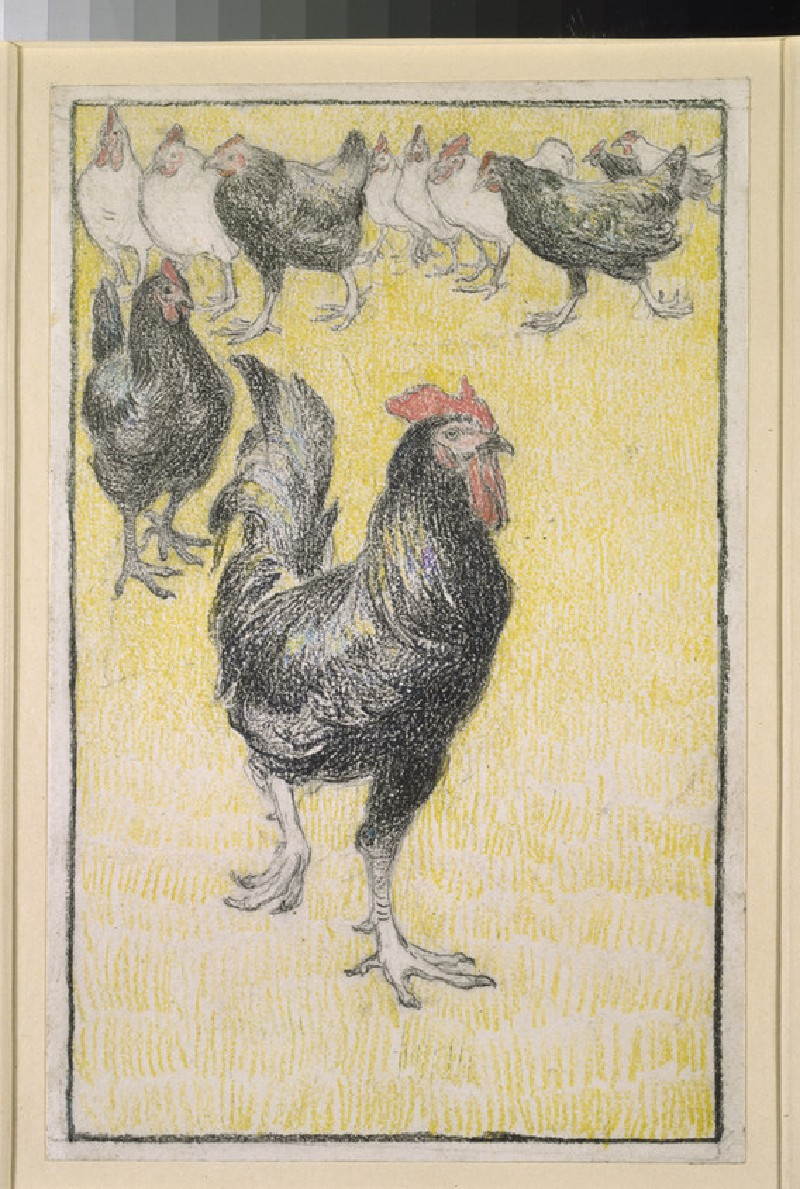 A cockerel, followed by black and white hens (WA1950.178.146)