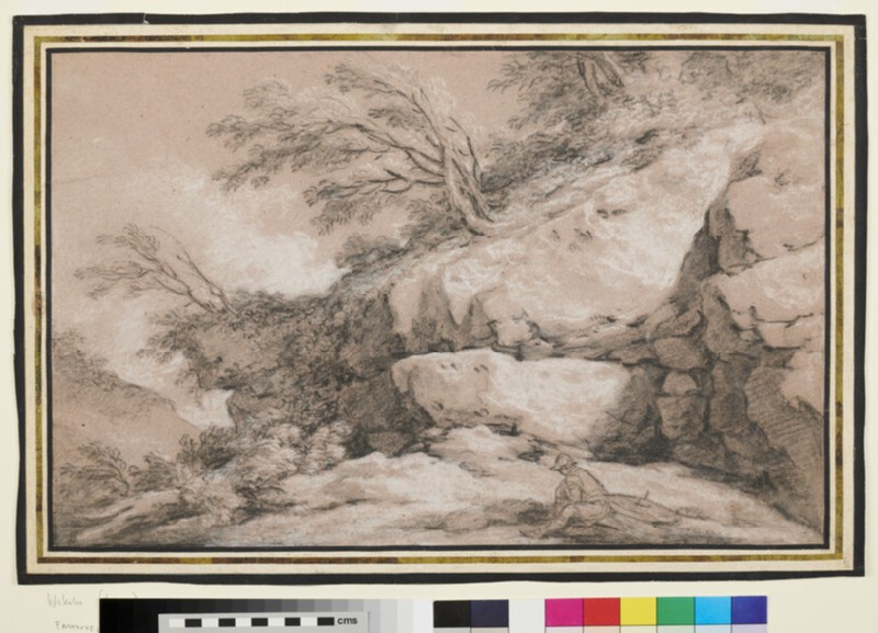 Rocky Landscape with seated Soldier