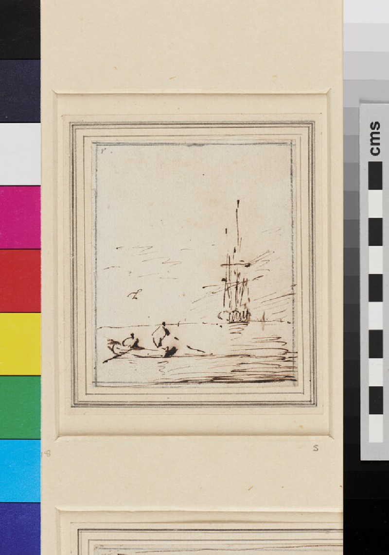 Two Men in a Boat, a Ship becalmed in the Distance