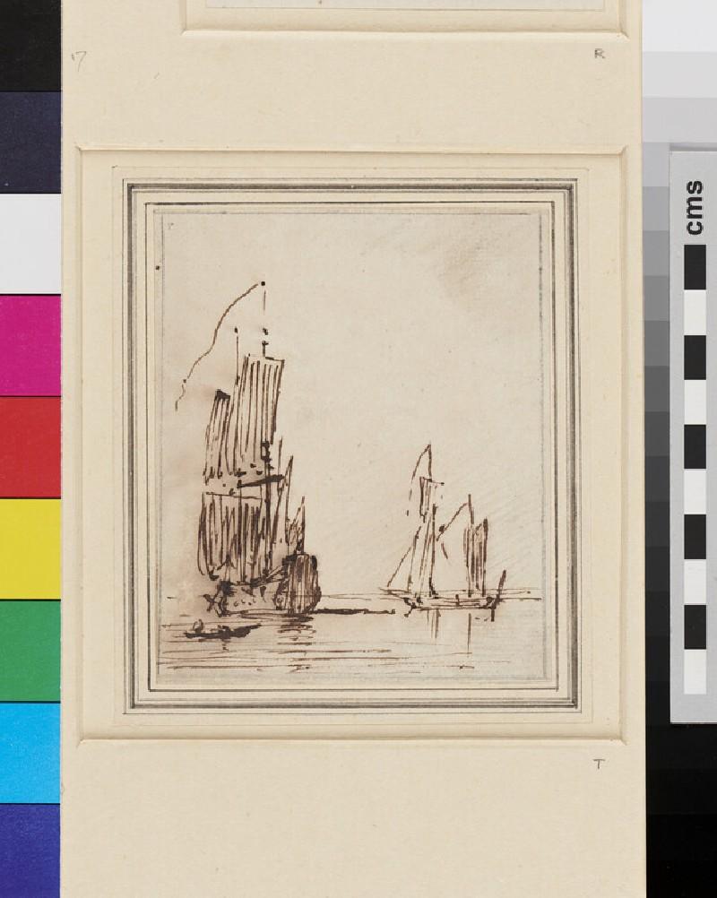 A Ship and a Yacht becalmed (WA1950.178.155, recto)