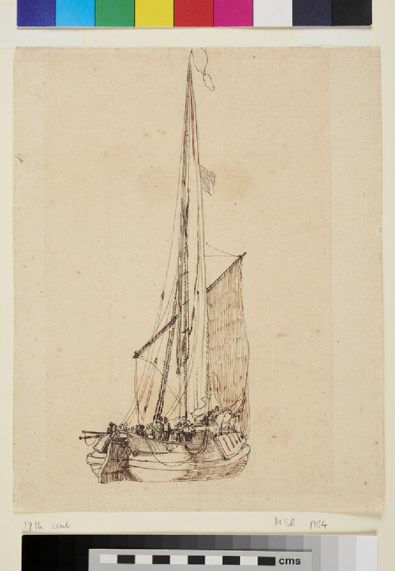Ship with Sail at half Mast (WA1950.178.165, recto)