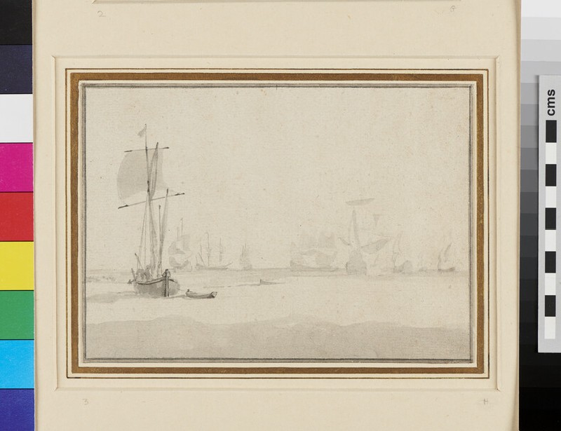 A Dutch Ship lying-to with other Ships in the Distance