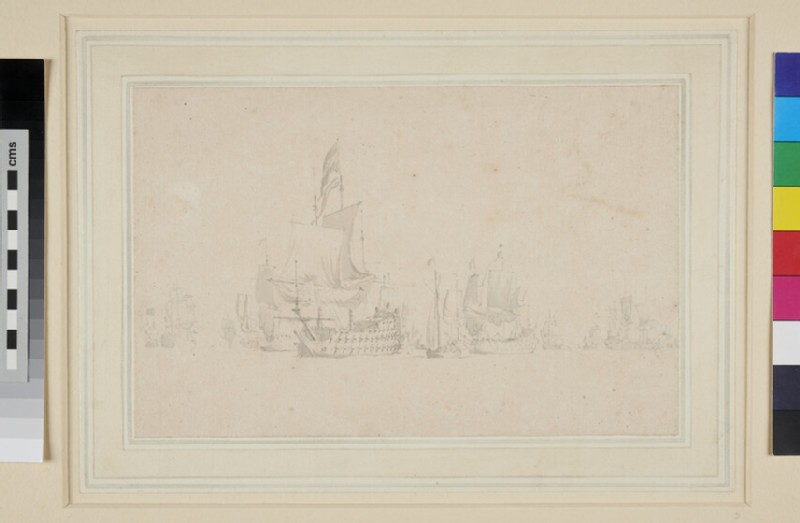 The Dutch Fleet at sea with a Galliot near the Commander-in-Chief