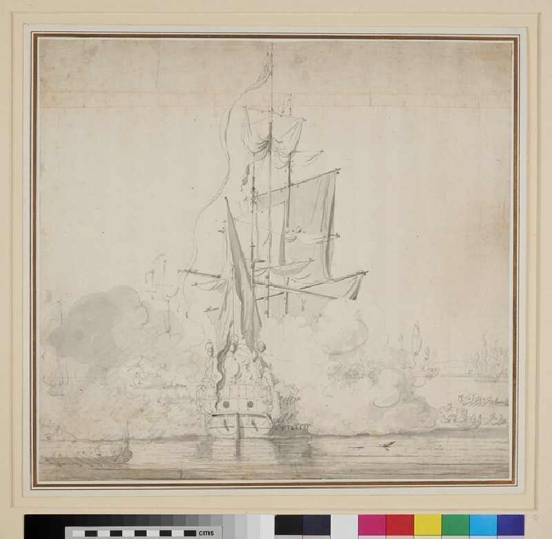 An English Ship, stern View, becalmed in the Thames, giving a Salute as Barges pull away