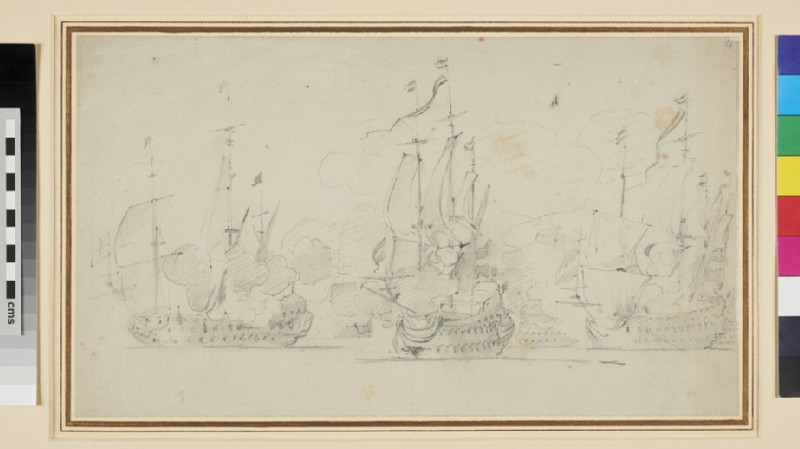 Two Dutch Ships engaged with a large English Ship