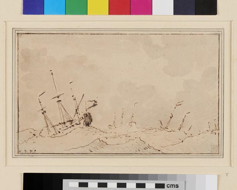 Ships at Anchor in a heavy Sea (WA1950.178.206, recto)
