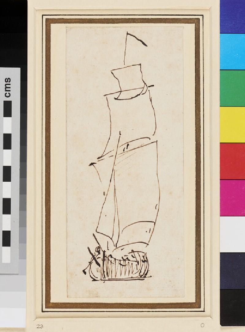A Ketch under way in a light Breeze (WA1950.178.215, recto)