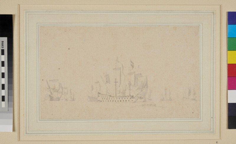 Dutch Flagship (vice-Admiral) and other ships under easy Sail (WA1950.178.22, recto)