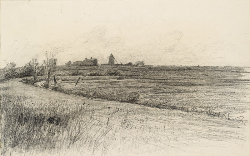 View of a group of buildings with a tower across wasteland (WA1950.178.45, front               )