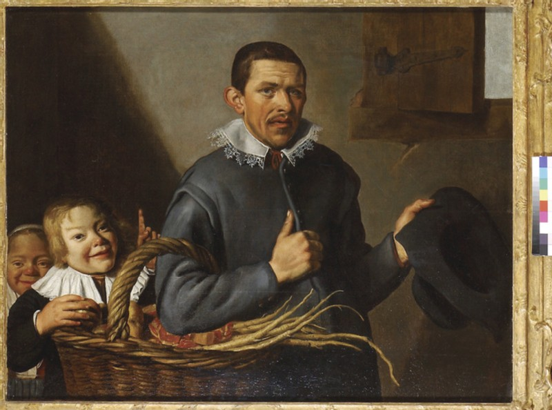 Two Children stealing an Apple from a Man with a Basket